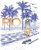 Skateboarder in Rio Royalty-vrije Stock Afbeeldingen