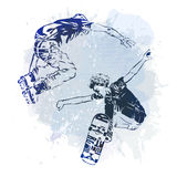 Skateboarder and roller jumping on paint spot with splash in watercolour style background. Skates and skateboards icon. Extreme th Stock Image