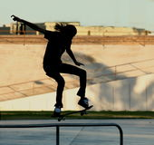 Skateboarder in silhouette. Doing tricks in the park Stock Photography