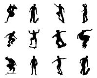 Skateboarder silhouette outlines Stock Image