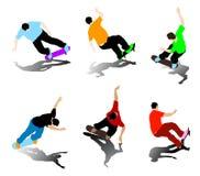 Skateboarder  silhouettes Stock Photos