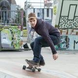 Skateboarder in the skate park. Stock Photos