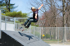Skateboarder On a Skate Ramp Royalty Free Stock Photo