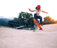 skateboarder skateboarding at skatepark Stock Images
