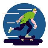 The skateboarder. Skateboarding sportsman in flat with gradient design. Banner sporting events, packing. Vector illustration. The skateboarder. Skateboarding Stock Photography