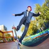 Skateboarder in the skatepark Stock Images