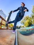 Skateboarder in the skatepark Royalty Free Stock Photography