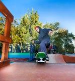 Skateboarder in the skatepark Royalty Free Stock Image