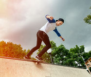 Skateboarder in the skatepark Royalty Free Stock Images