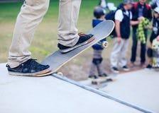 Skateboarder Skating In A Skatepark On Skate Board Royalty Free Stock Images