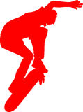 Skateboarder Stunt Sillhouette. Red silhouette of a skateboarder flipping the skateboard in the air Royalty Free Stock Images