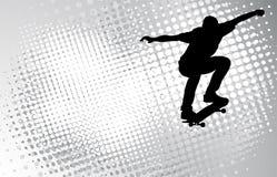 Skateboarder sui precedenti astratti Fotografia Stock Libera da Diritti