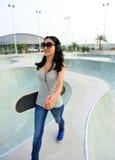 Skateboarder walk Stock Photos