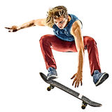 Skateboarder young teenager man isolated. One caucasian skateboarder young teenager man skateboarding isolated on white background Royalty Free Stock Photos