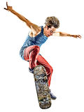 Skateboarder young teenager man isolated. One caucasian skateboarder young teenager man skateboarding isolated on white background Royalty Free Stock Photo