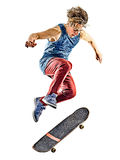 Skateboarder young teenager man isolated. One caucasian skateboarder young teenager man skateboarding isolated on white background Stock Images