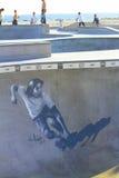 Skateboardermuurschildering bij het Strand van Venetië, CA stock afbeelding