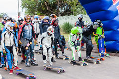 SkateBoarders DownHill Start Group Royalty Free Stock Images