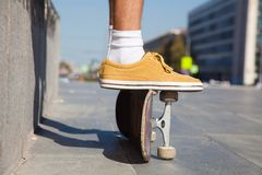 Skateboarders Feet Close Up Stock Photo
