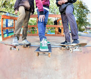 Skateboarders friends Stock Image