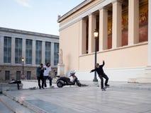 Skateboarders i Aten Fotografering för Bildbyråer