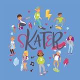Skateboarders på hoppa för skateboradåkare för tonåring för bakgrund för tecken för flicka för pojke för sida för landning för sk arkivfoto