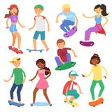 Skateboarders på tecken för pojke eller för flicka för skateboardvektor skateboarding eller tonåringskateboradåkare som ombord ho stock illustrationer