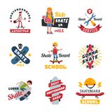 Skateboarders people tricks silhouettes sport badge extreme action active skateboarding urban young jump person vector. Skateboarders people tricks silhouettes Royalty Free Stock Image