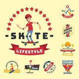 Skateboarders people tricks silhouettes sport badge extreme action active skateboarding urban young jump person vector. Skateboarders people tricks silhouettes Stock Photography