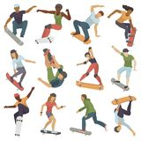 Skateboarders people tricks silhouettes sport extreme action active skateboarding urban young jump person vector Royalty Free Stock Photos