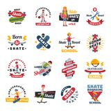Skateboarders people tricks silhouettes sport logo badge for team extreme skateboarding urban life people vector. Skateboarders people tricks silhouettes logo Royalty Free Stock Photo