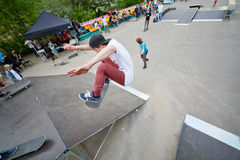 Skateboarders perform at opening of skatepark Stock Photo