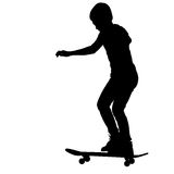 Skateboarders silhouette. Vector illustration. Royalty Free Stock Images