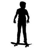 Skateboarders silhouette. Vector illustration. Stock Image