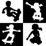 Skateboarders silhouettes collection Royalty Free Stock Photo