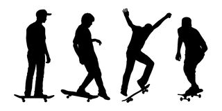 Skateboarders silhouettes set 2 Stock Images