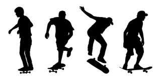 Skateboarders silhouettes set 1 Royalty Free Stock Photo