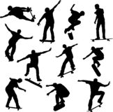Skateboarders silhouettes - vector
