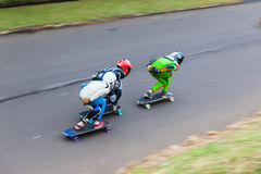 SkateBoarders Three DownHill Speed-Blur Stock Image