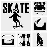 Skateboarders vector icons set on gray Stock Photography