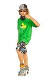 Skateboardfahrer, der Daumen gibt Lizenzfreies Stockfoto