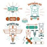 Skateboardhundemblem och symboler royaltyfri illustrationer