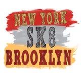 Skateboarding искусство города Стиль SK8 улицы графический New York Стоковое Фото