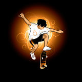 skateboarding мальчика Иллюстрация вектора