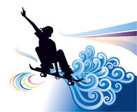 Skateboarding. Young man skateboarding with graphic clouds on background Stock Photos