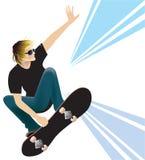 Skateboarding. Young man skateboarding on white background Royalty Free Stock Images
