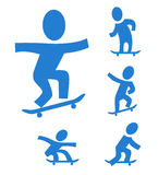Skateboarding. A set of pictograms with skateboarders figures Royalty Free Stock Image