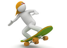 Skateboarding. 3d characters isolated on white background series Stock Images