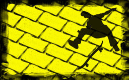 Skateboarding. Yellow and black illustration of the skateboarder shadow Royalty Free Stock Photography