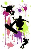 Skateboarding. Silhouettes three teenagers riding on skateboarding on bright background Stock Photos